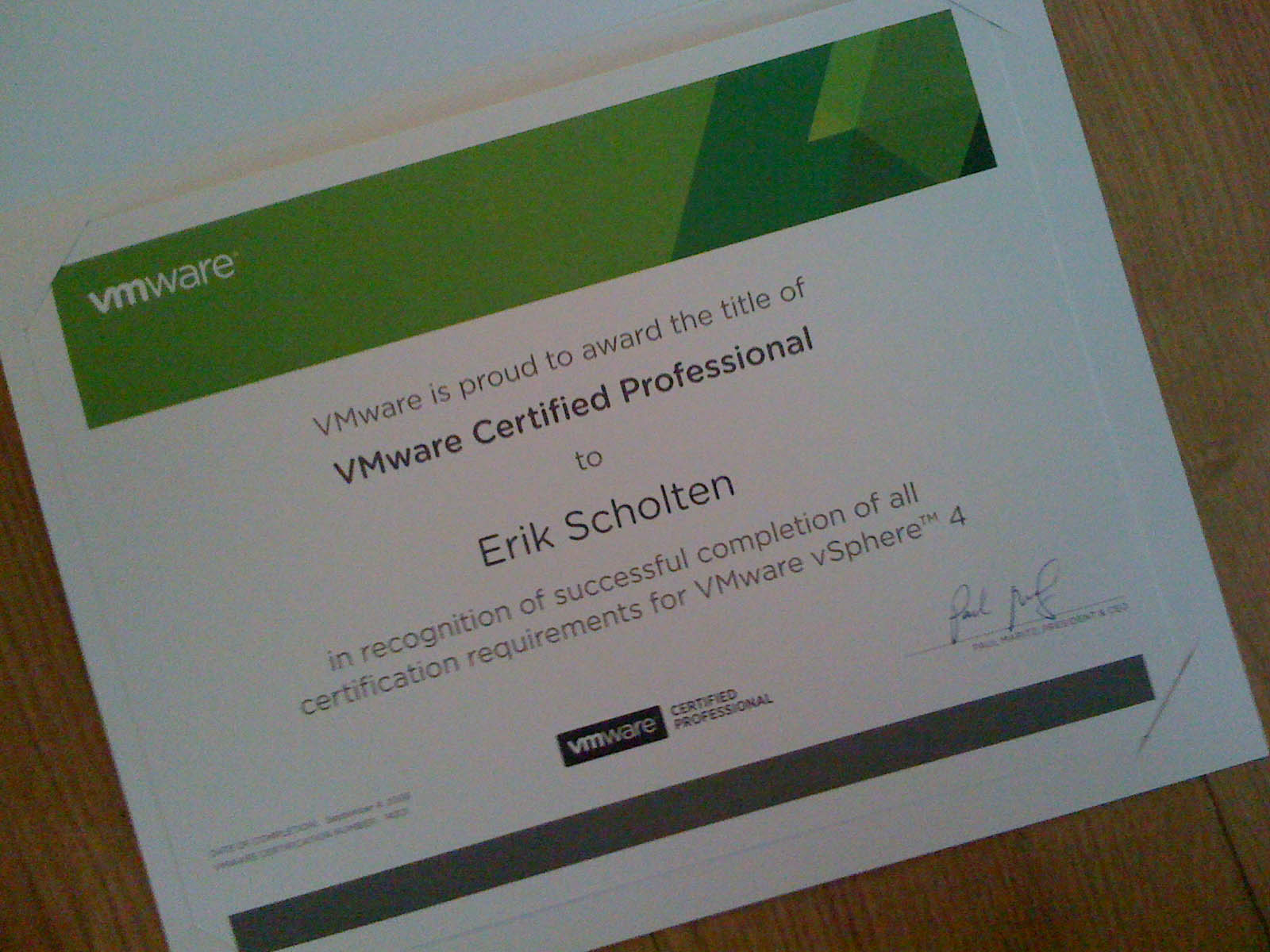 Finally Received Vcp 4 Certificate Benefits