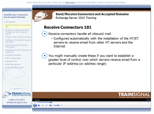 Trainsignal Exchange 2010 training DVD interface screenshot