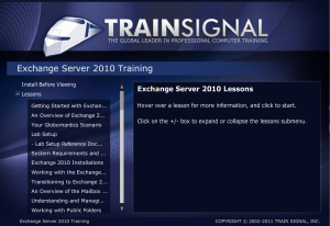 Trainsignal Exchange 2010 training DVD interface screenshot 2