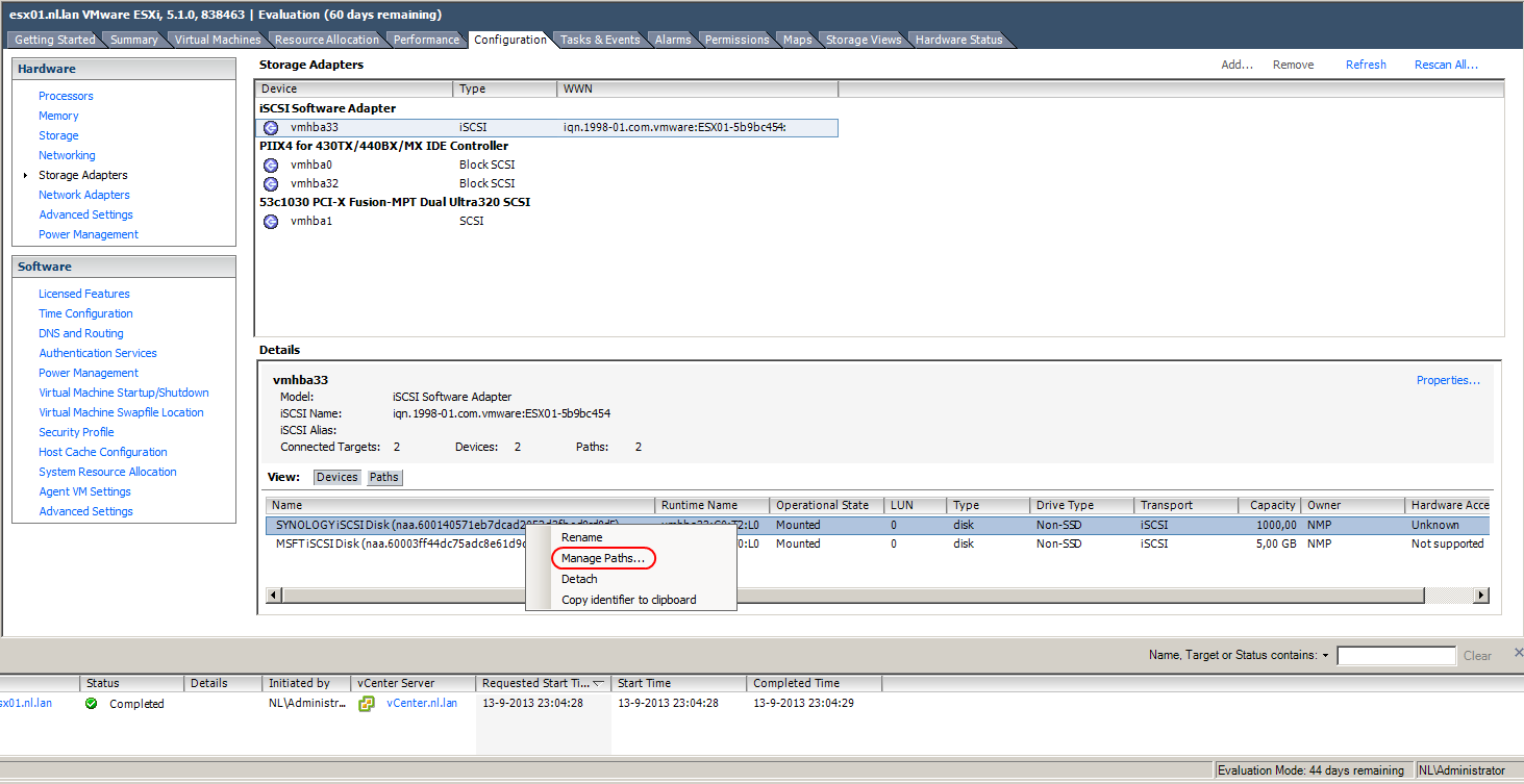 Setting up VMware vSphere and Synology with iSCSI