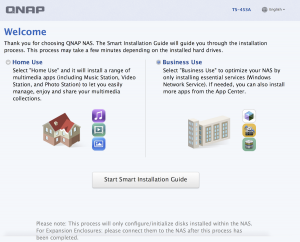 QNAP First Boot Wizard