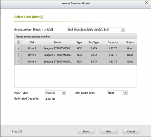 QNAP Storage manager creating RAID volume