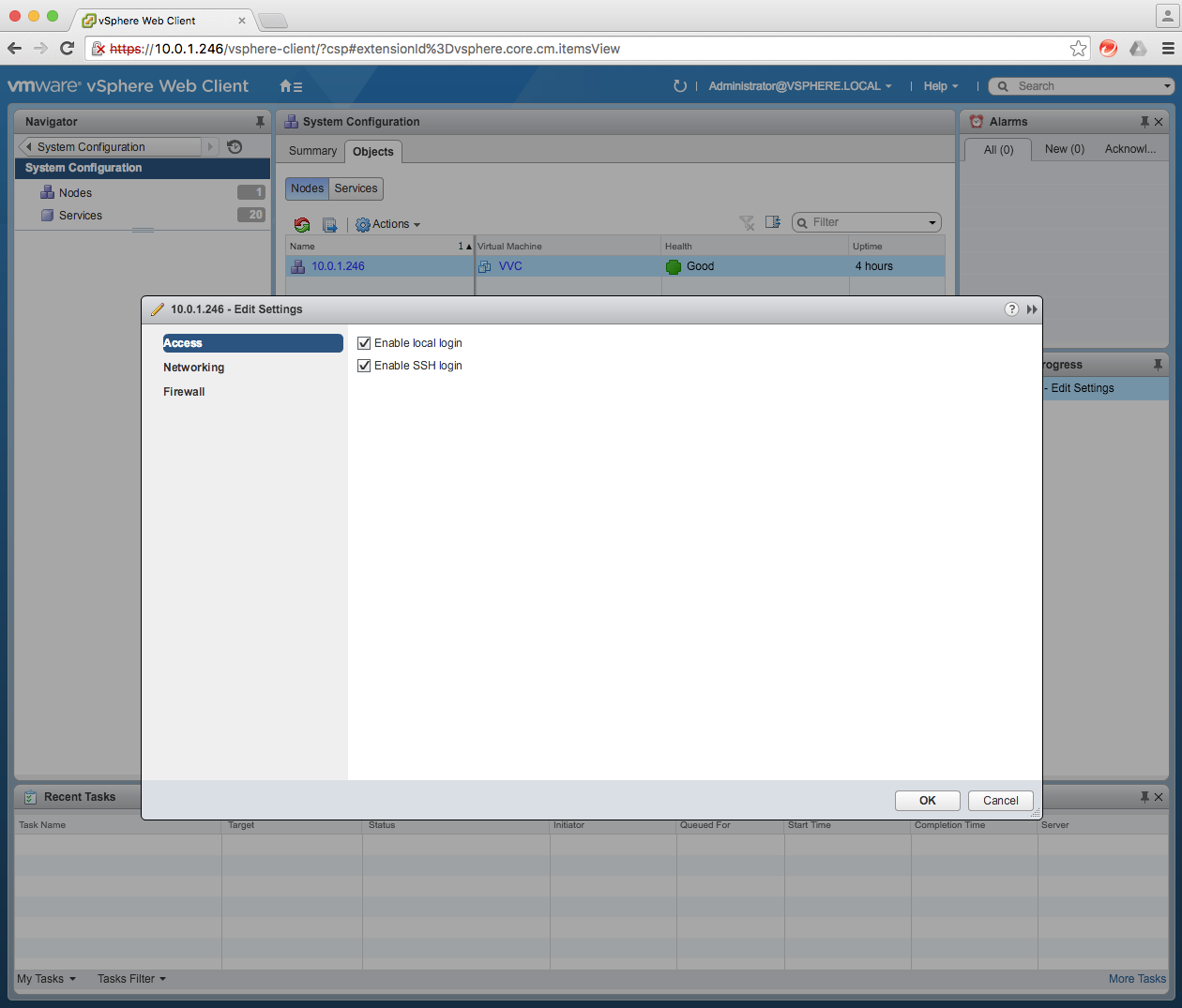 Working with the VMware vCenter Server Appliance