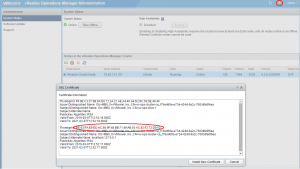 vRealize Operations Manager admin thumbprint