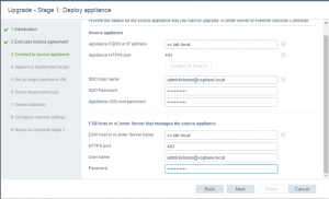 VCSA upgrade source appliance