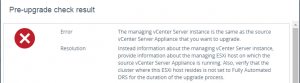 VCSA upgrade vCenter mangement